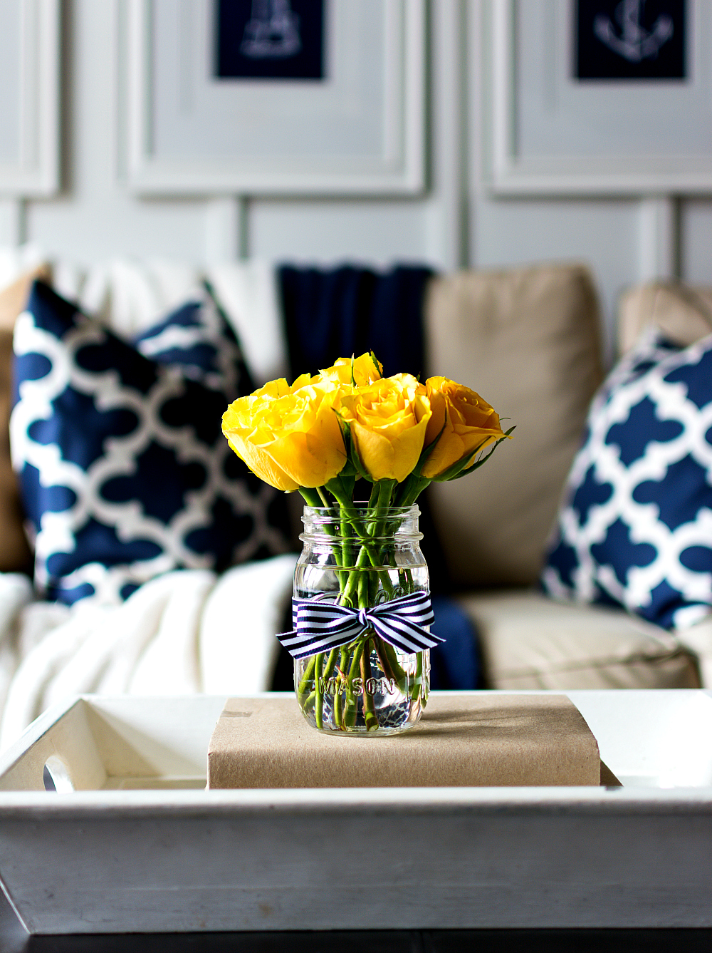 Navy blue and yellow living room - Spring Decor Ideas In Navy And Yellow It All Started With Paint Stunning Brown And Blue Living Room
