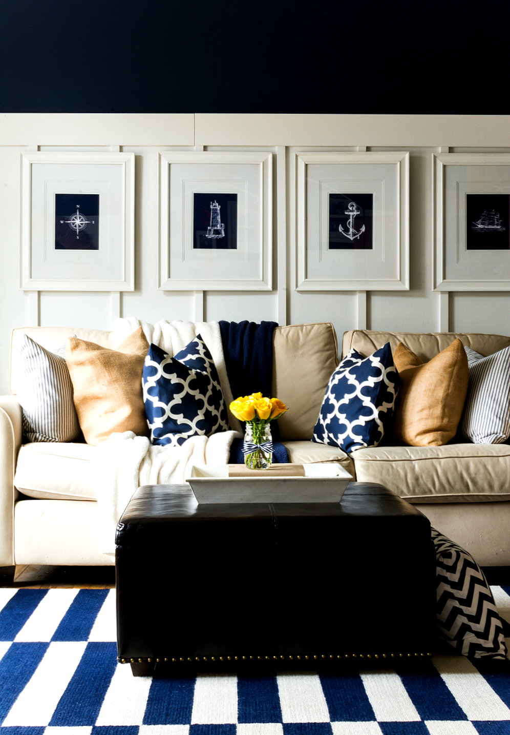 Spring decor ideas in navy and yellow it all started Yellow living room decorating ideas