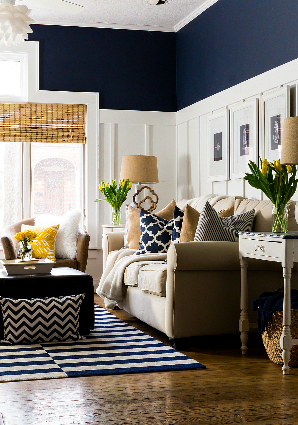 Living Room Yellow Ideas spring decor ideas in navy and yellow - it all started with paint