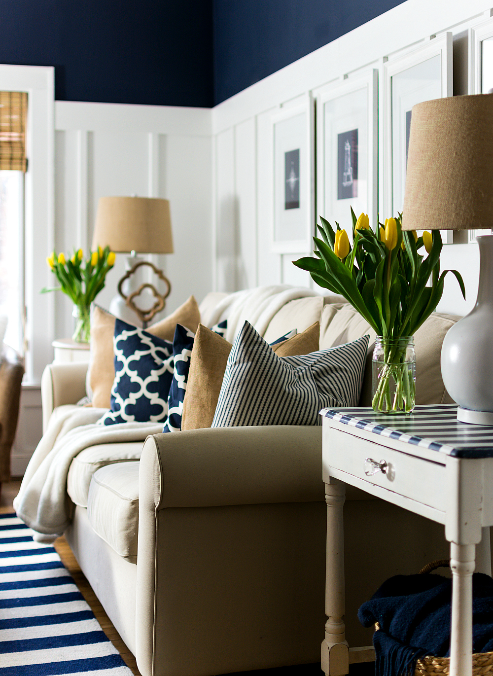 spring decor ideas in navy and yellow it all started with paint. Black Bedroom Furniture Sets. Home Design Ideas