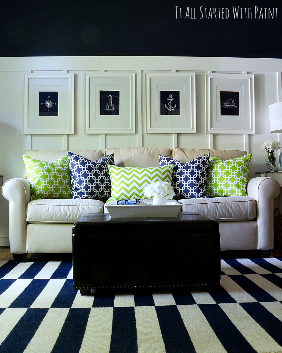Green Living Room Designs: Spring Decor Ideas In Navy And Yellow