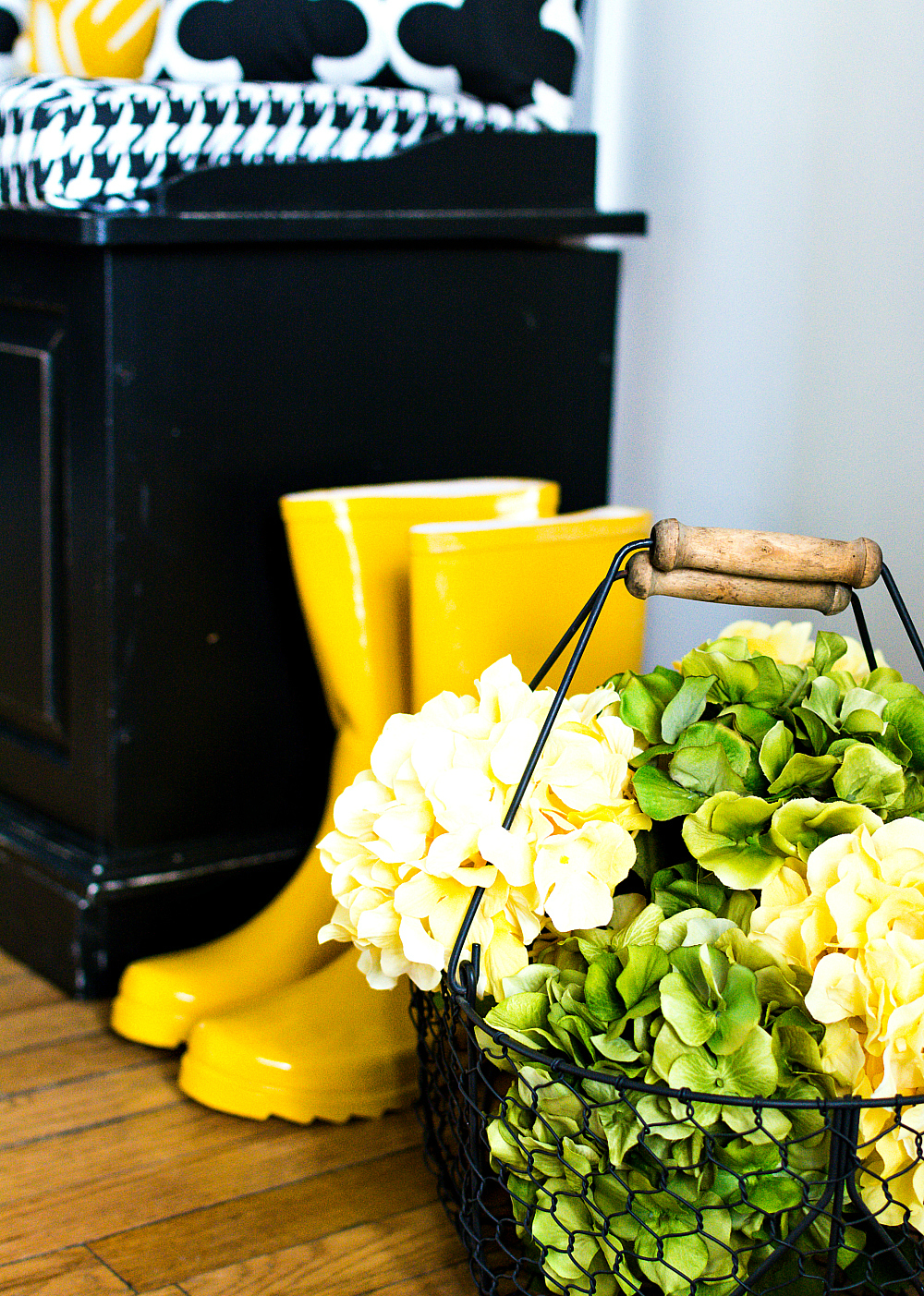 Spring Decorating Yellow Rainboots