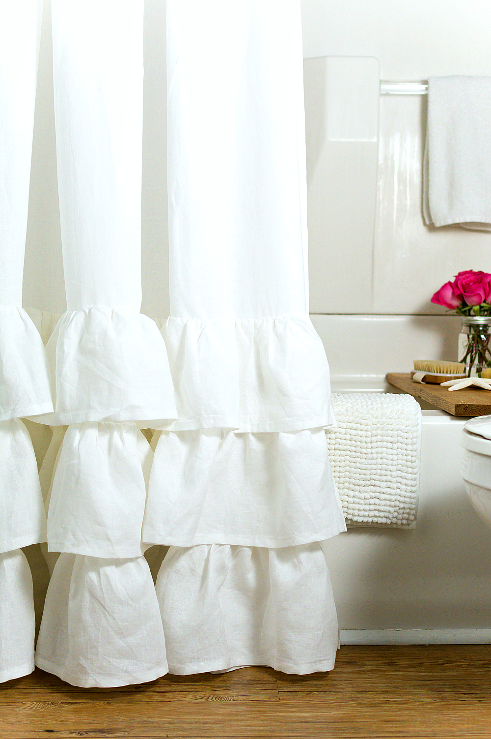 Pottery Barn White Ruffle Shower Curtain