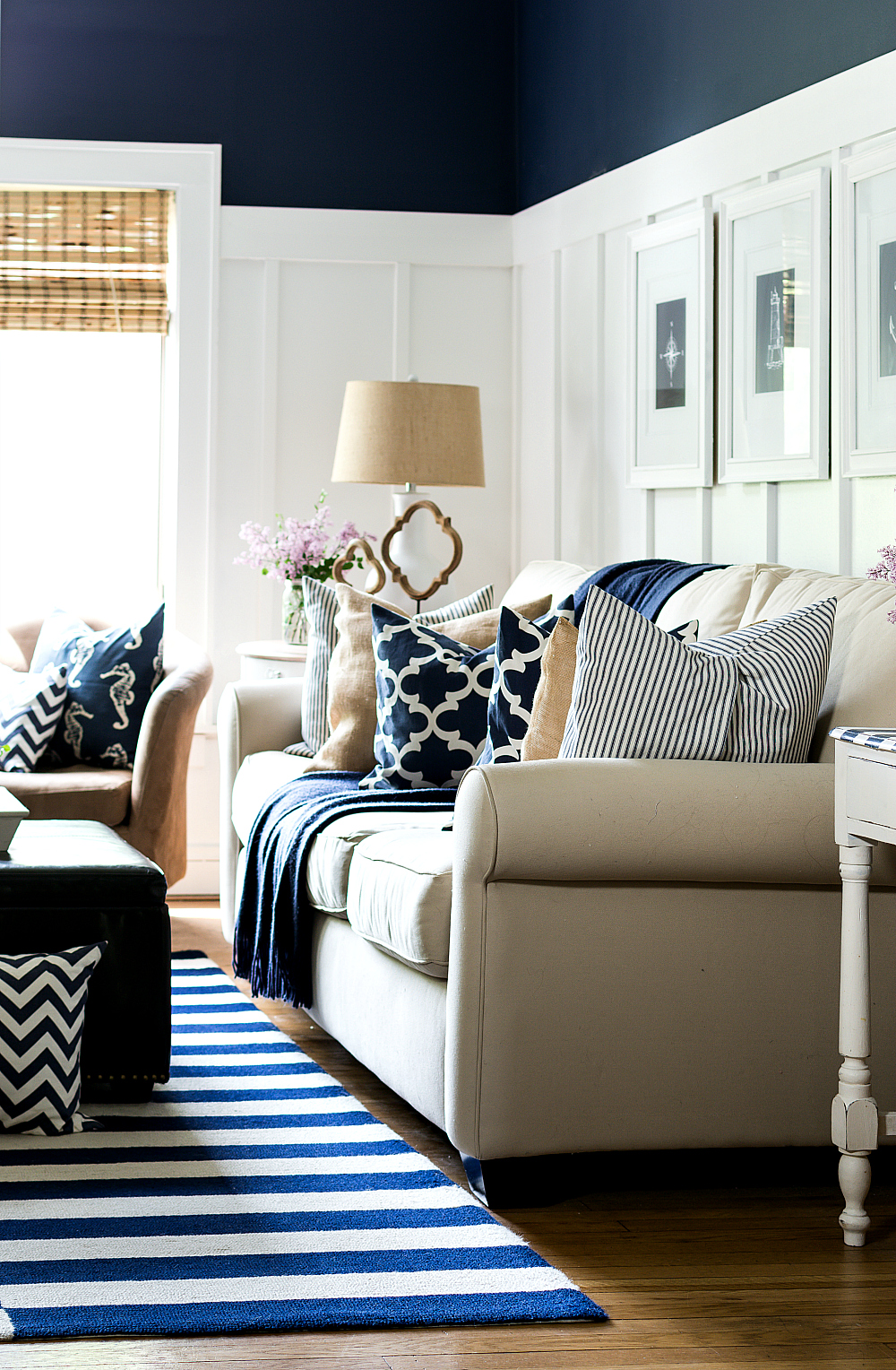 outstanding navy white living room | summer-house-tour navy white living room couch 1 (1 of 7 ...