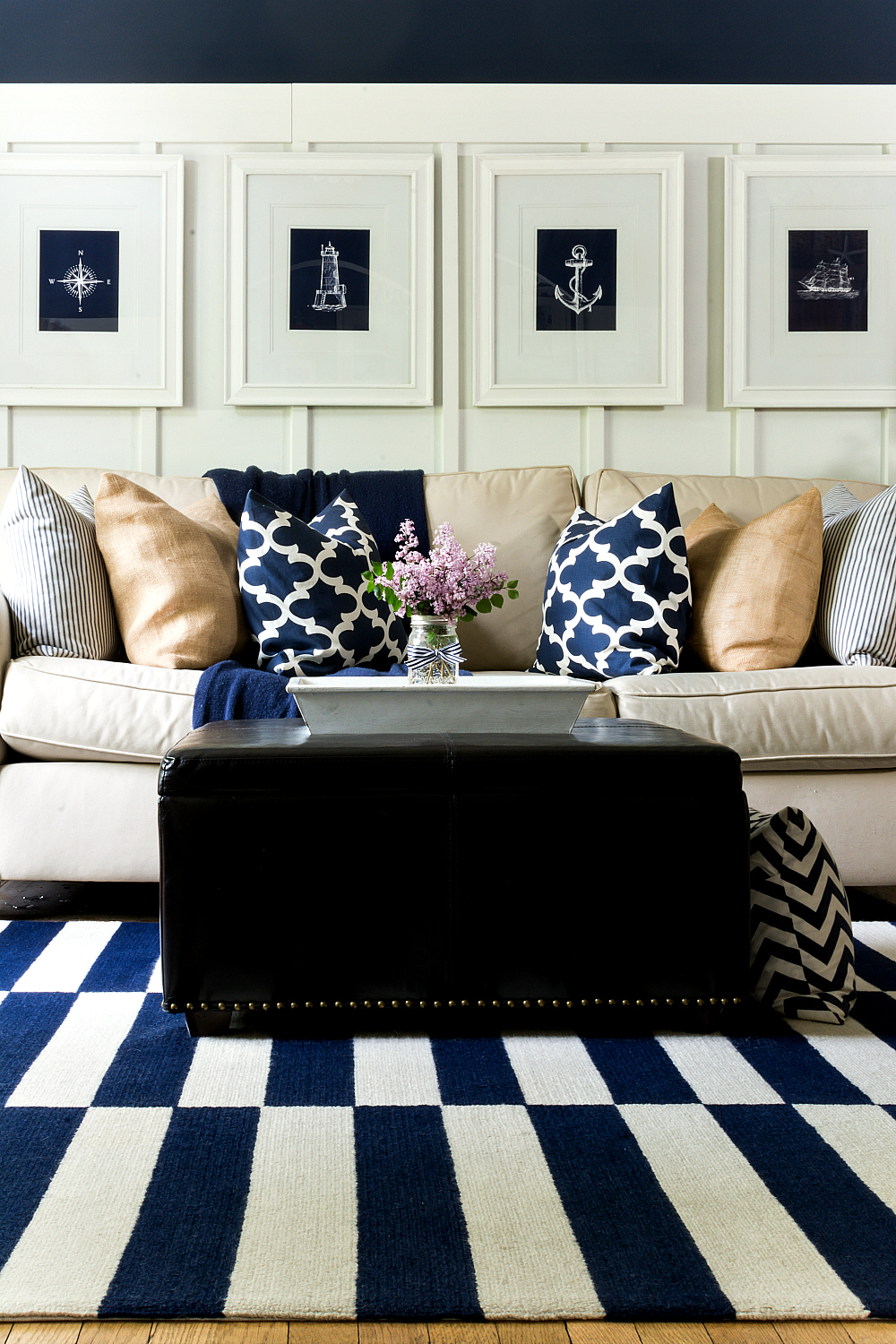 Navy and White Board and Batten Living Room