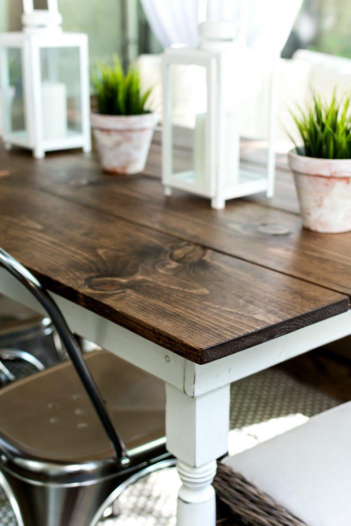 I built a farmhouse table it all started with paint for Farm table legs diy