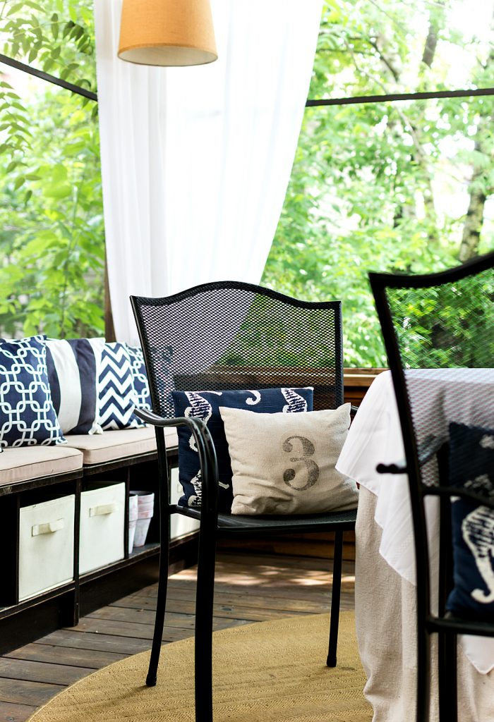 Navy and White Screen Porch