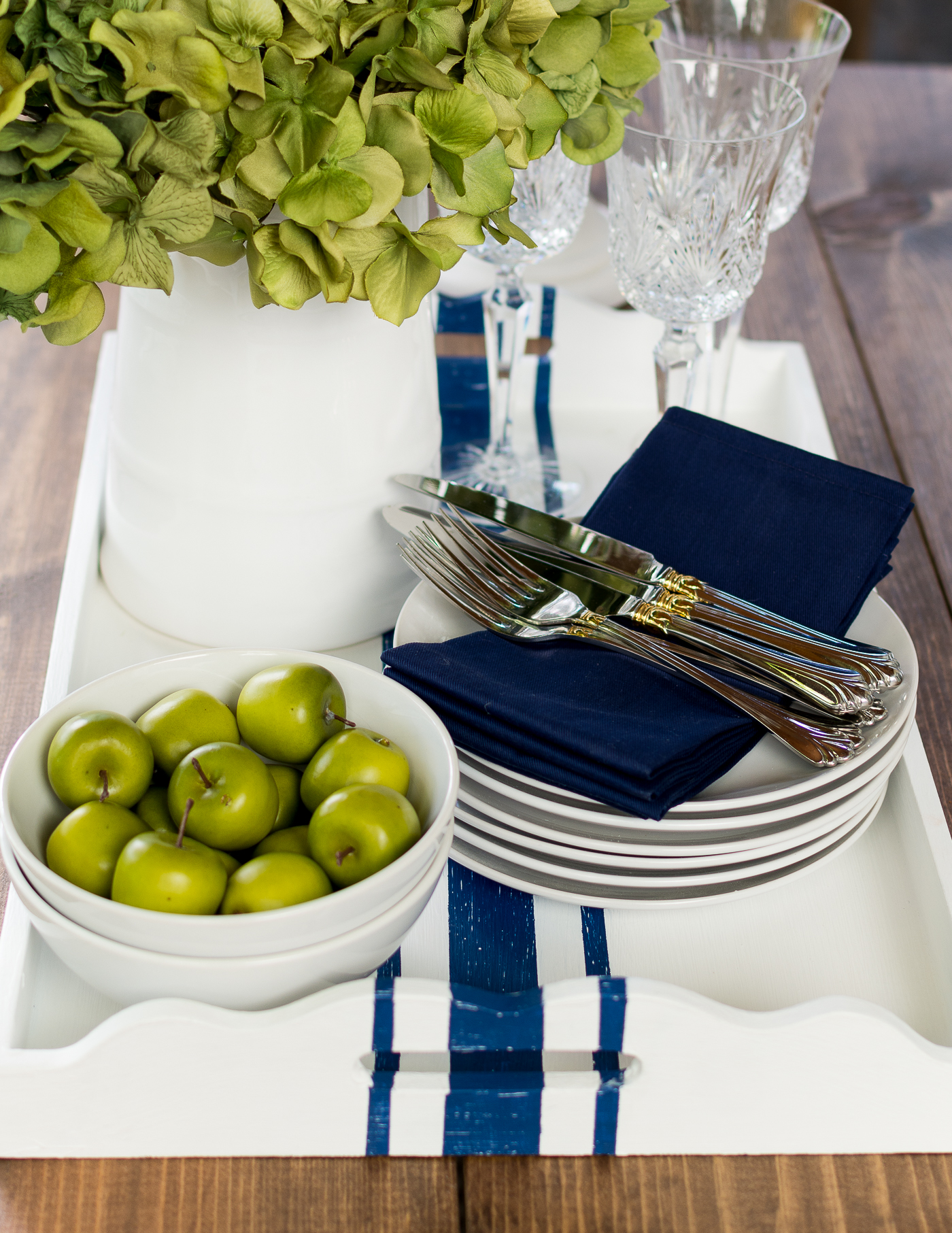 Navy White Painted Serving Tray