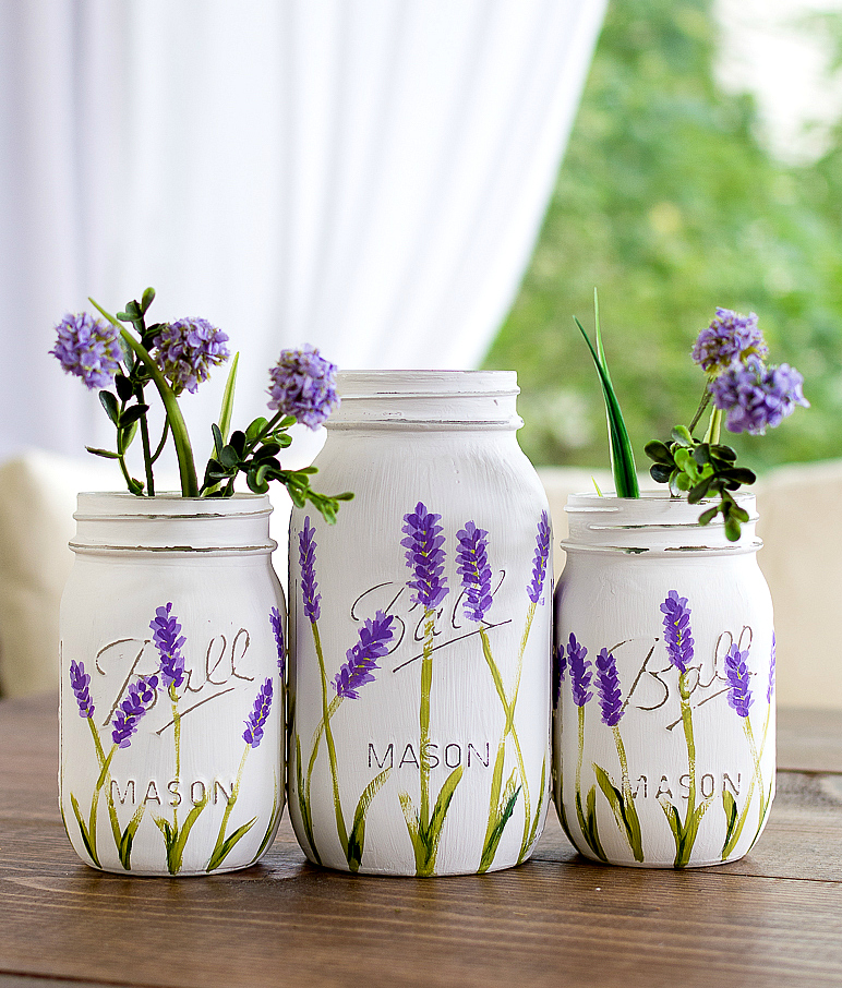 lavender-mason-jars-painted @It All Started With Paint