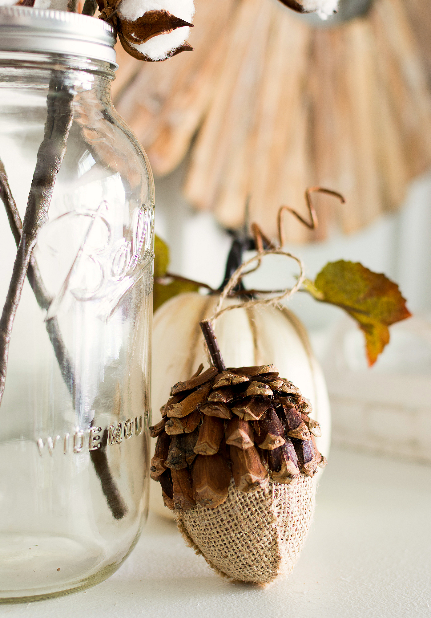 Fall Mantel Cotton Stems Decorating Ideas