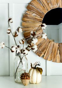 Fall Mantel With Cotton Stems