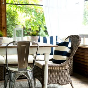 Navy White Screen Porch