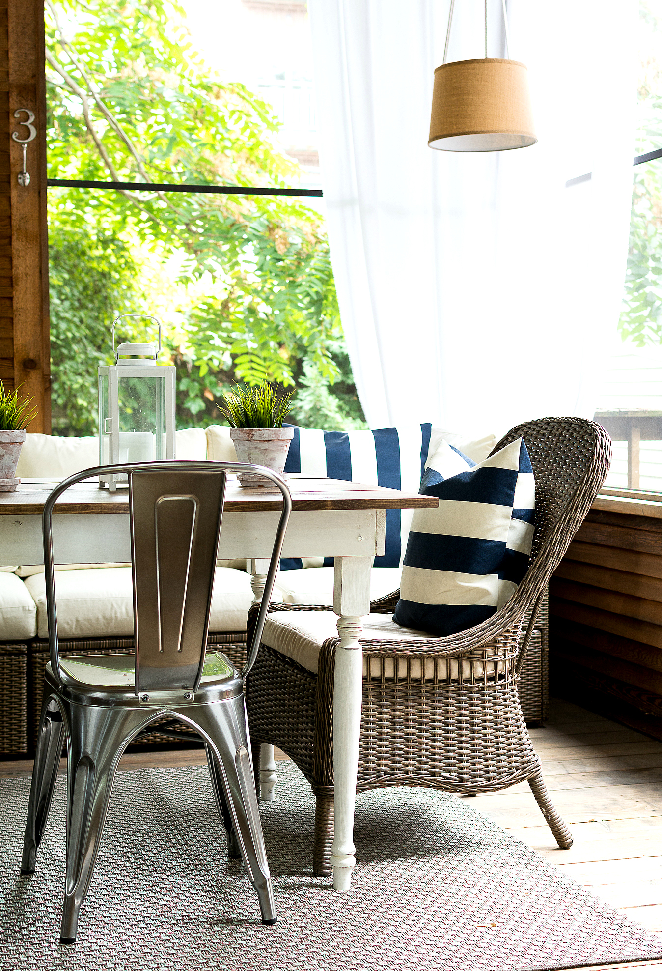 Wicker Chairs with Farmhouse Table