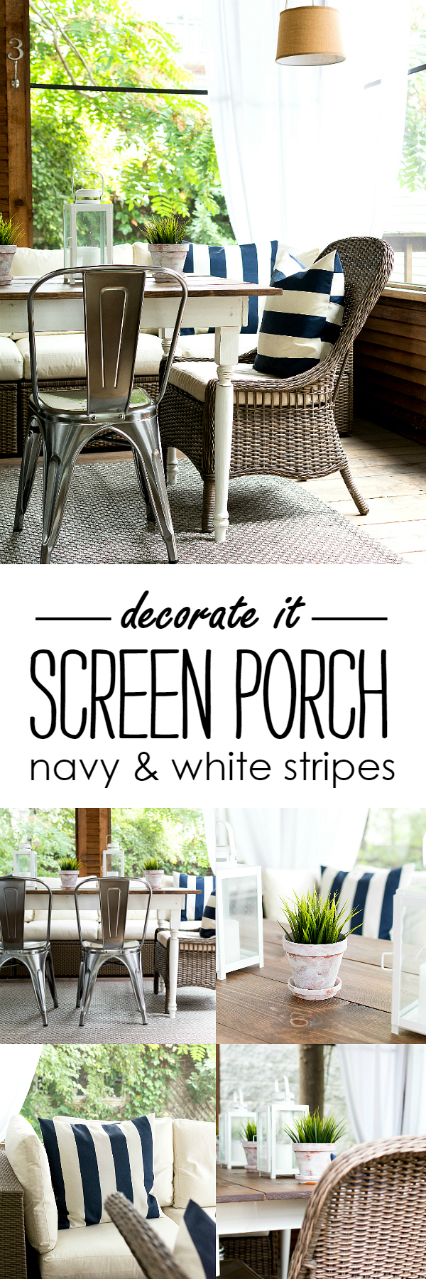 Navy White Screen Porch Decorating Ideas