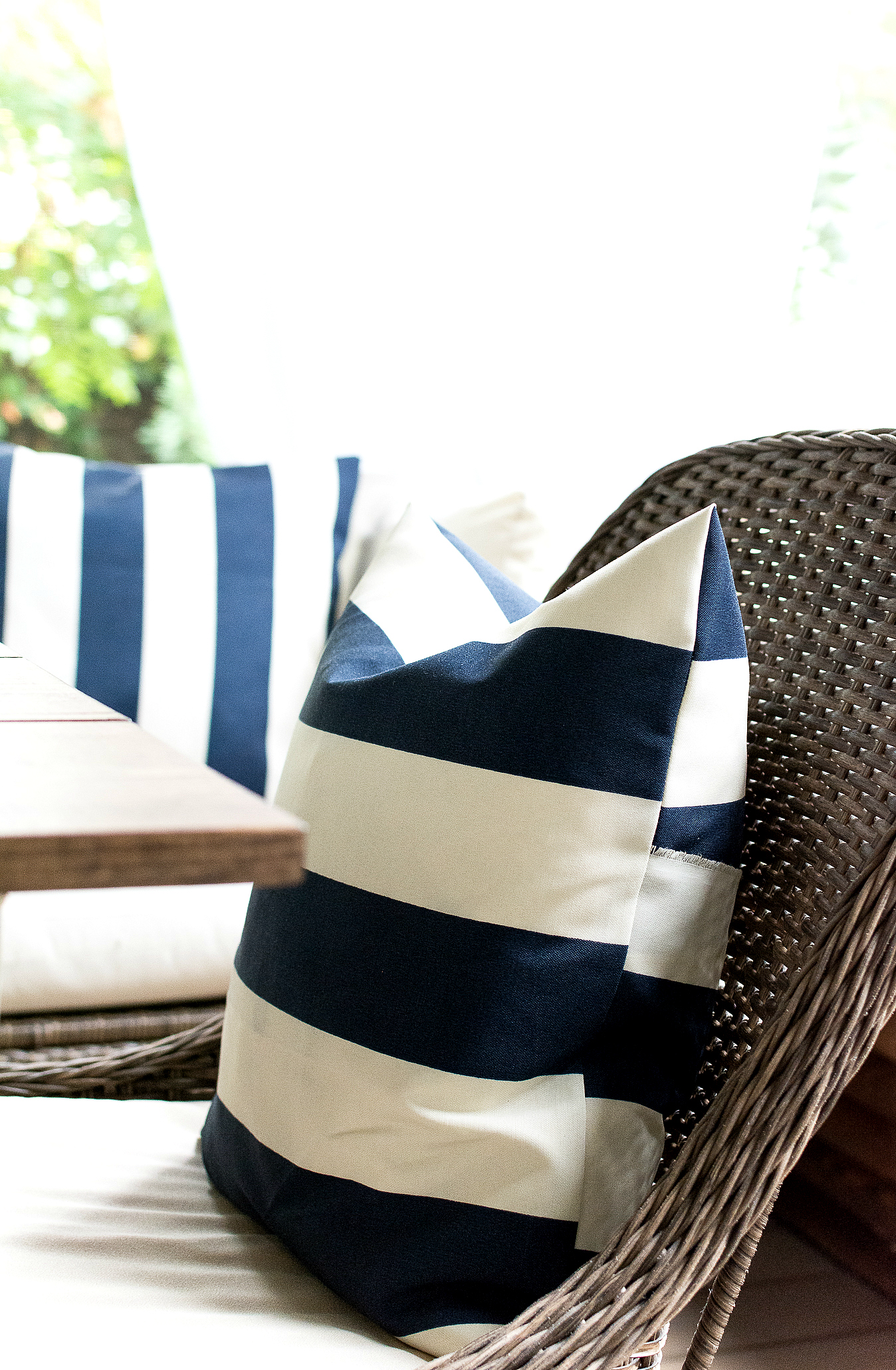 navy white striped outdoor pillow