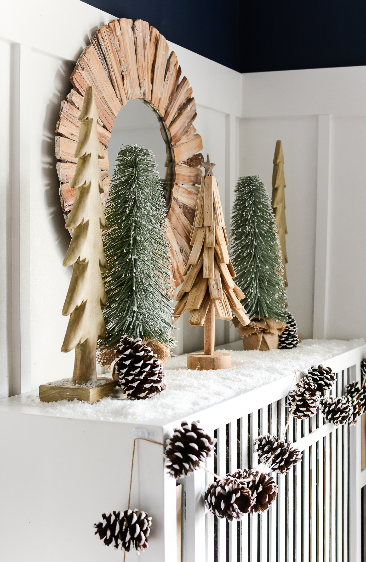 christmas-mantel-christmas-trees-painted-pine-cones-7