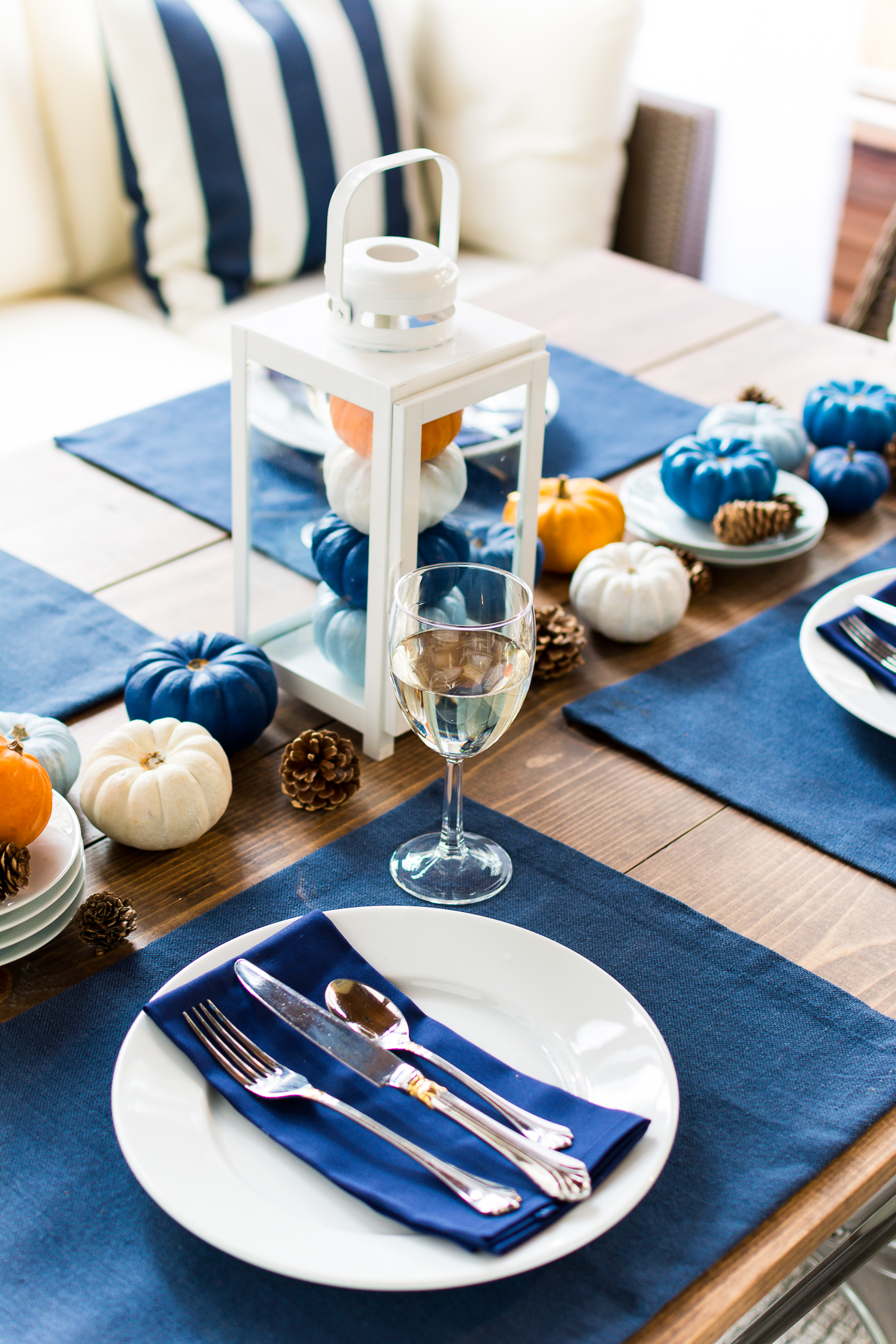 Thanksgiving Table Setting Idea Navy Blue White Orange
