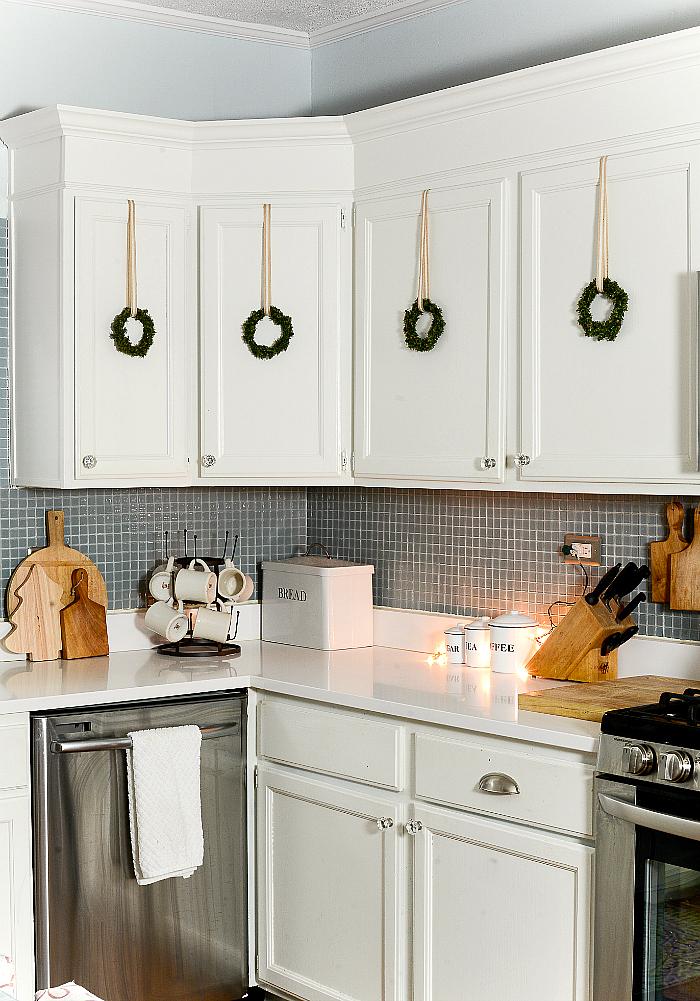Wreaths on Kitchen Cabinets