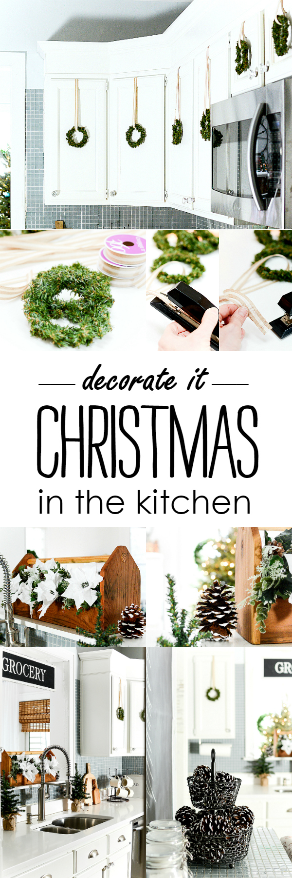 Christmas Kitchen Decorating Ideas with Mini Wreaths @It All Started With Paint www.itallstartedwithpaint.com