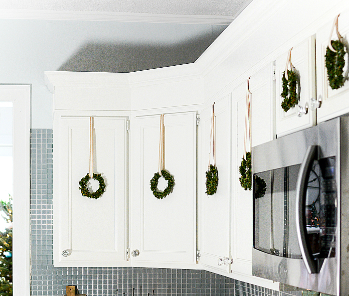 Mini Wreaths in Kitchen