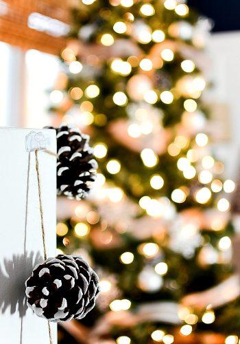 Christmas Tree with Burlap Ribbon & Pine Cones