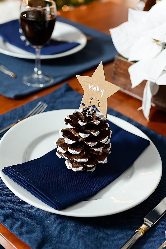 Pine Cone Christmas Tree Place Card Holders for Holiday Table Setting