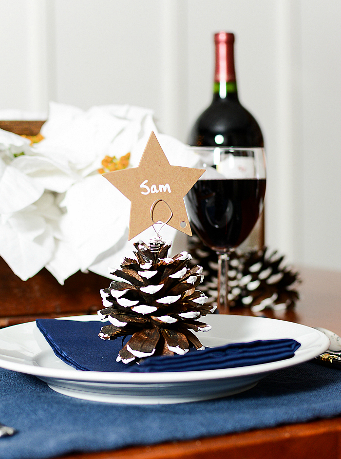 Pine Cone Place Card Holder for Holiday Table