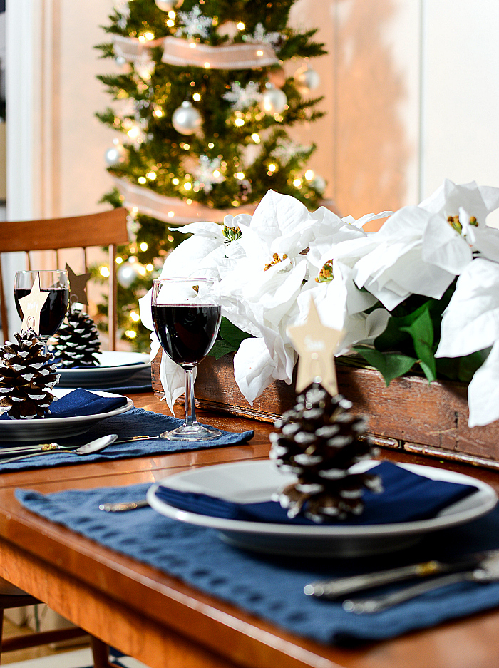 Navy and White Table Setting Idea for Holidays