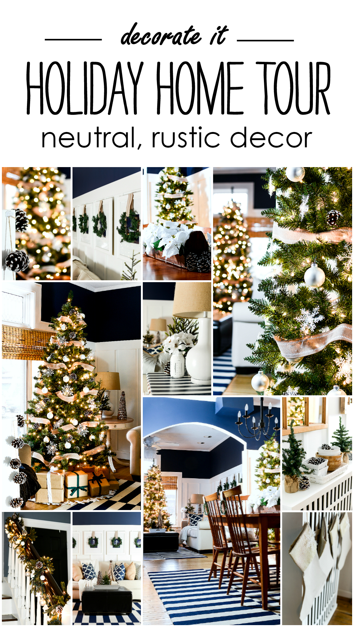 Christmas Decor in Neutral Colors with Navy and White