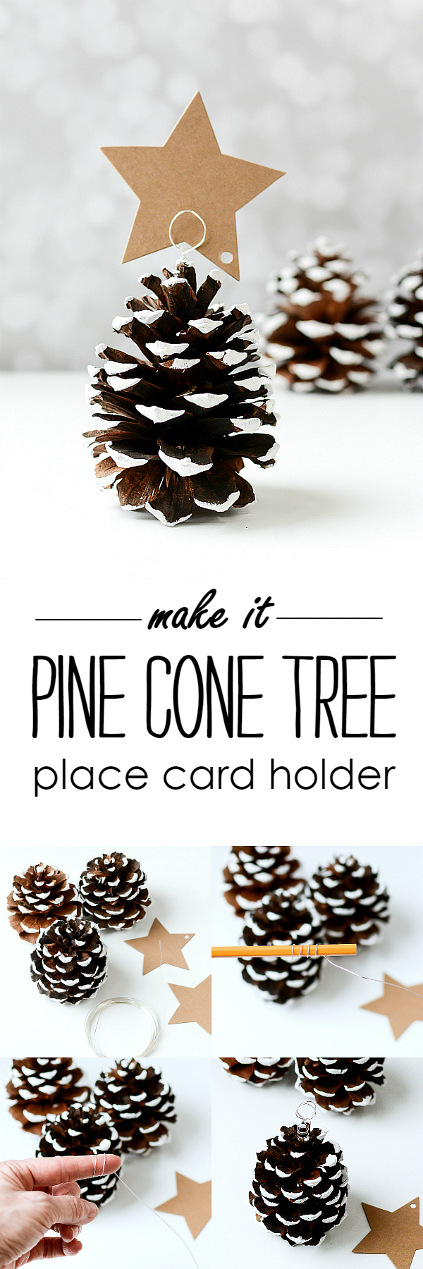 Pine Cone Christmas Tree Place Card Holders @It All Started With Paint