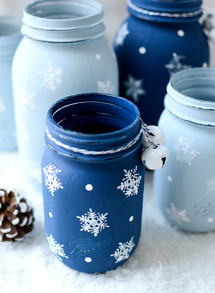 Snowflake Mason Jars @It All Started With Paint