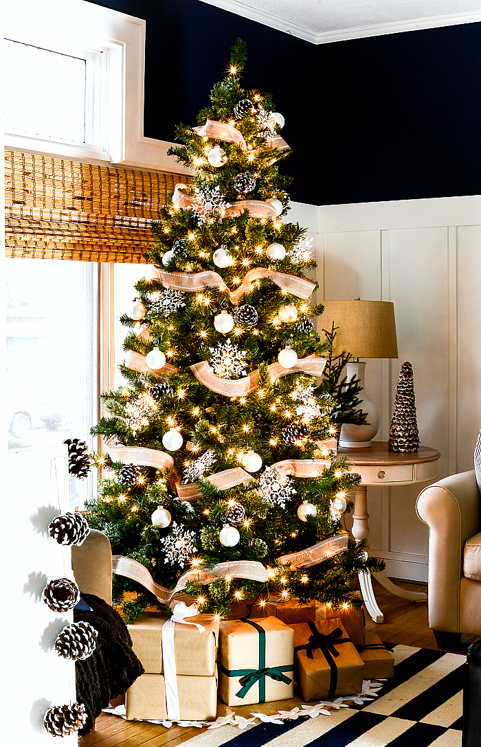 Christmas Decorating Ideas Neutral Burlap White Navy Rustic Living Room It All Started With Paint 3 Of 36 It All Started With Paint