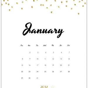 Free Calendar Page for January 2017