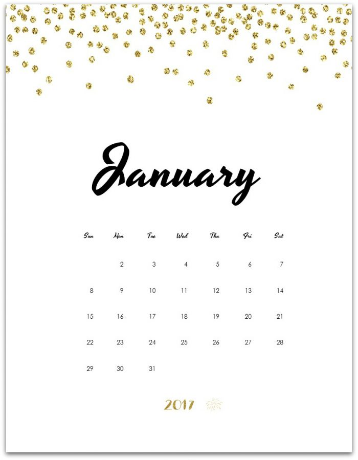 Free Calendar Page - January 2017