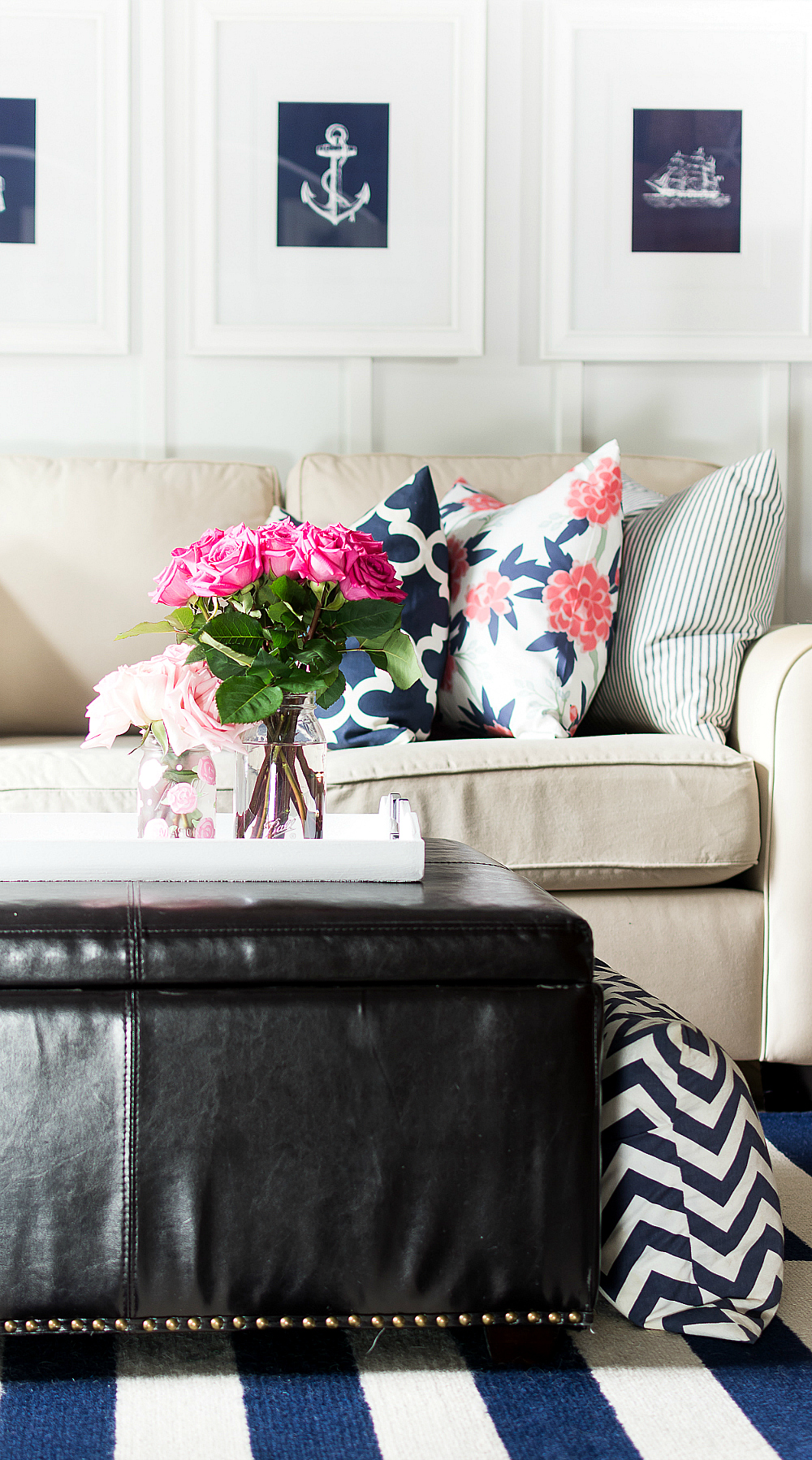Which Reminded Me That I Never Shared Some Pictures Of The Spring Pink And Navy Living Room