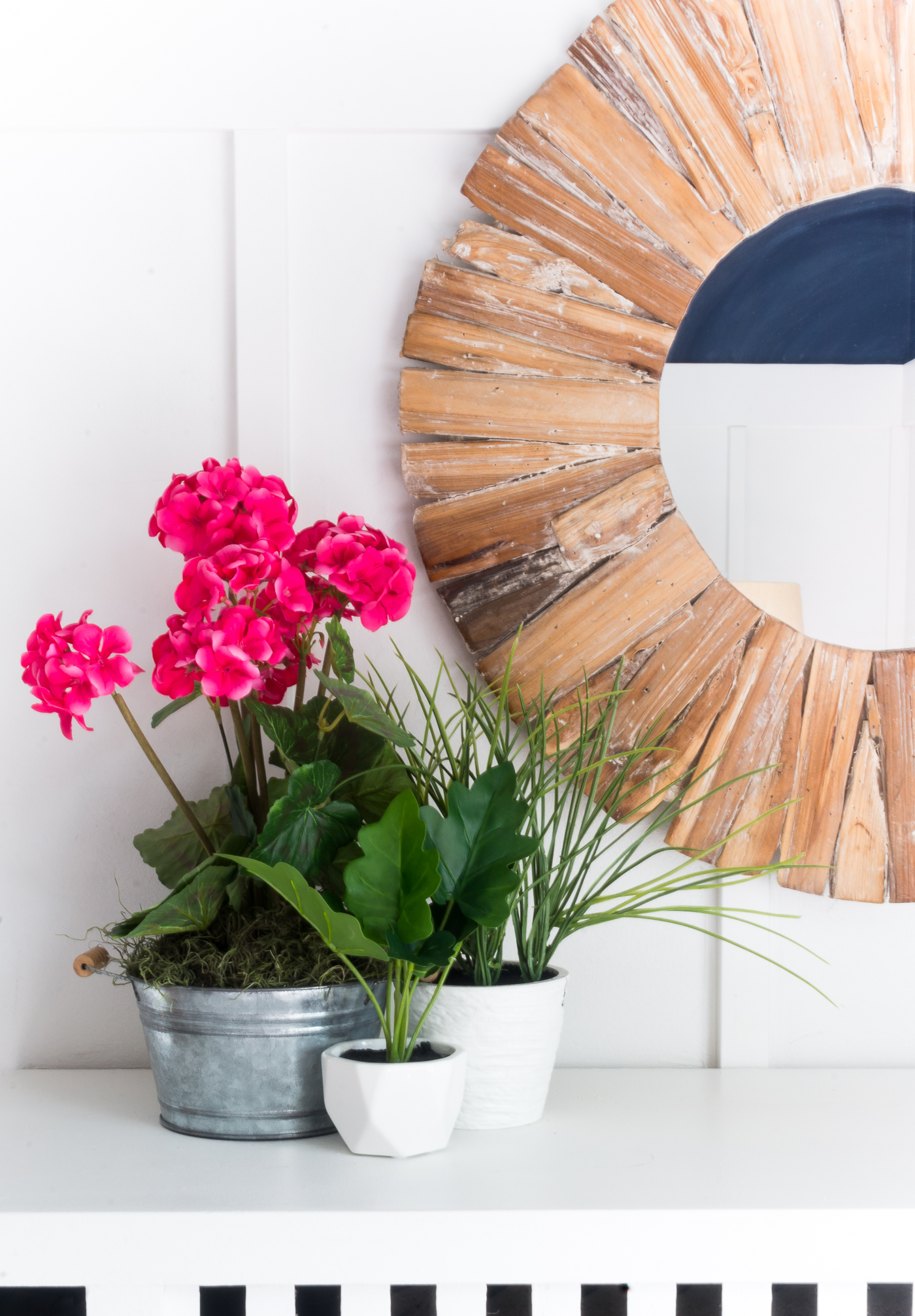 Mantel Decorating Ideas for Spring in Navy and Pink