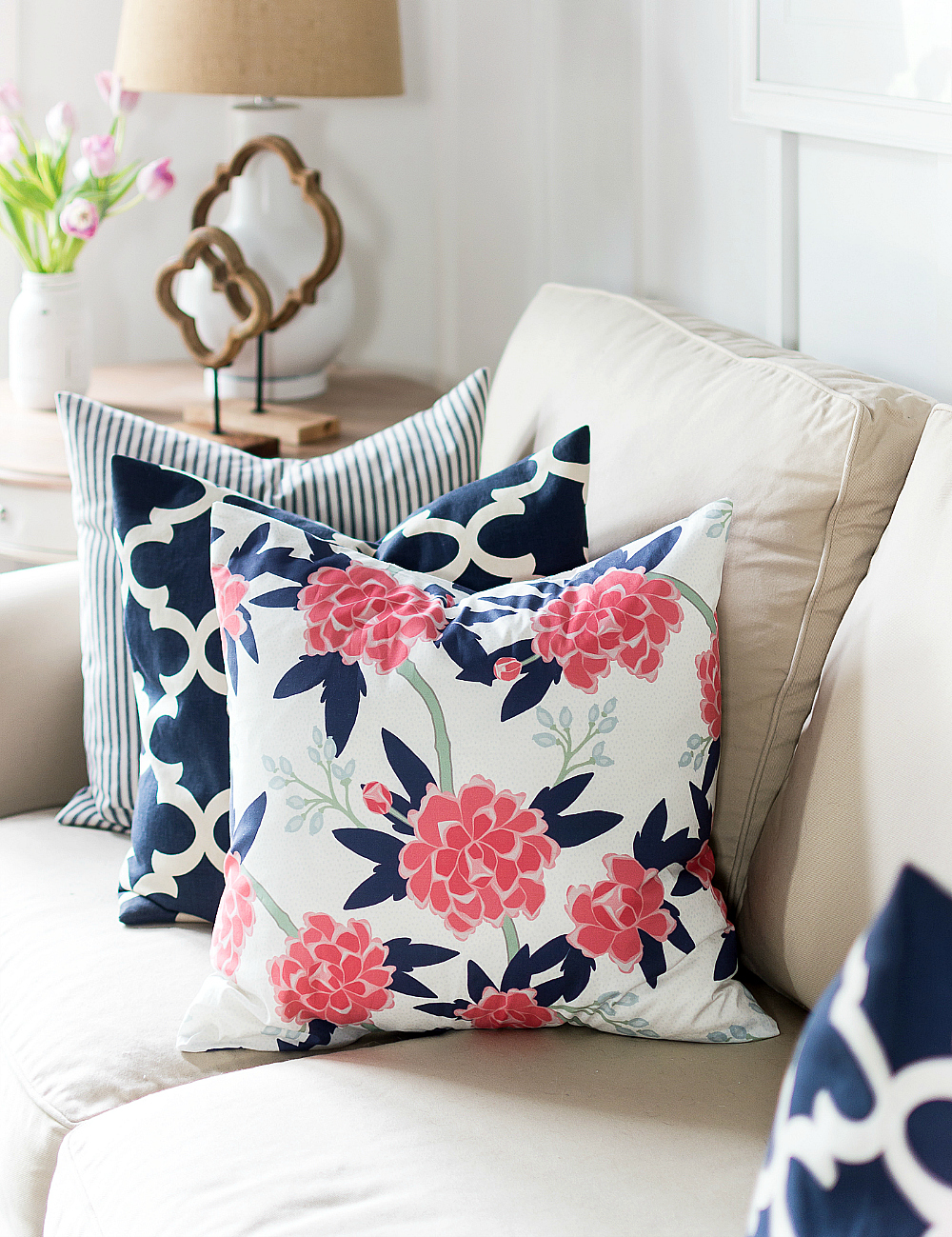 pink navy floral fabric