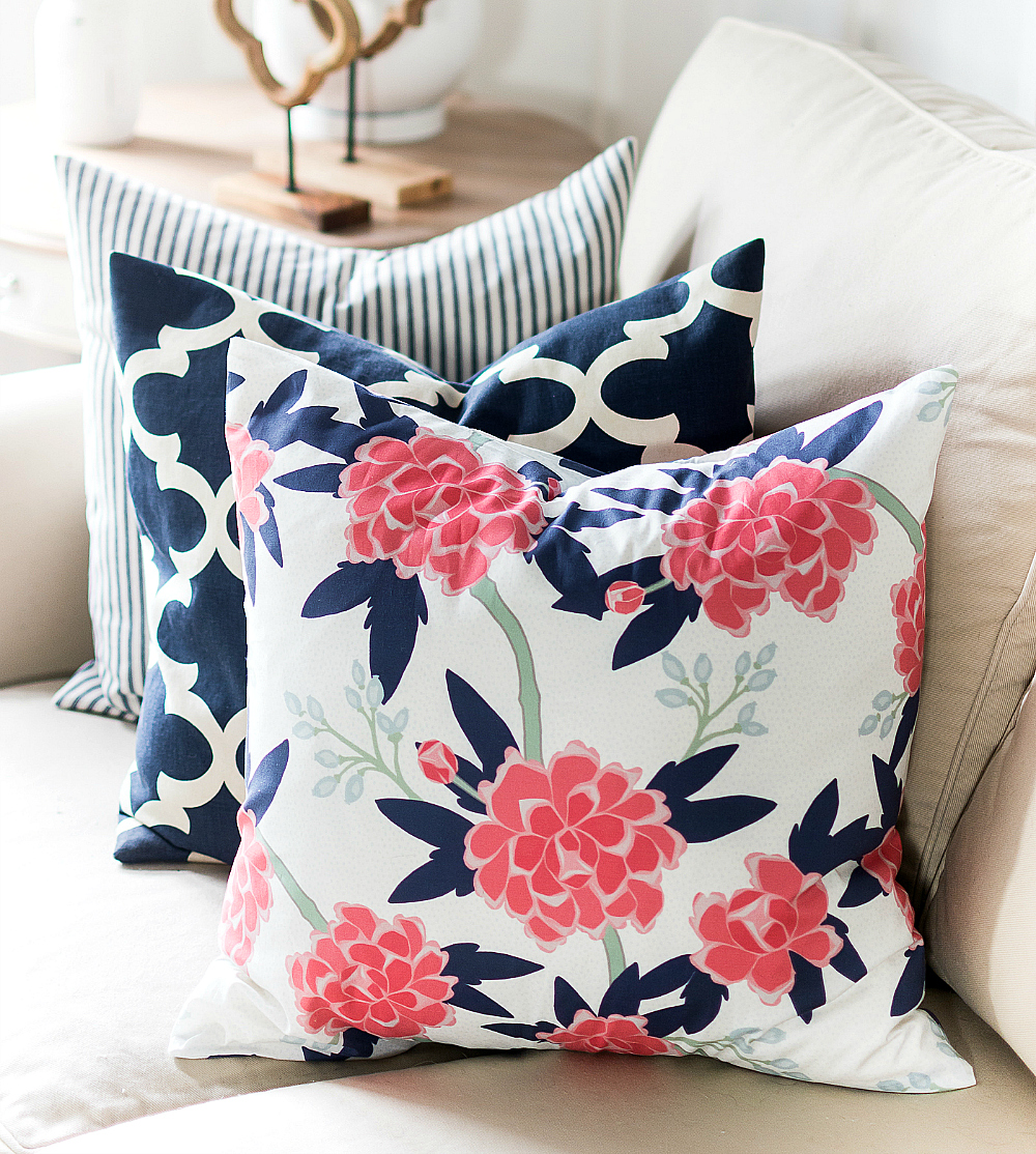 Pink And Navy Living Room