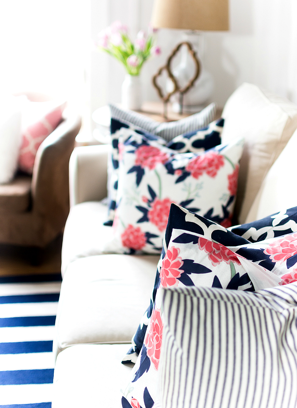 navy and pink floral pillows