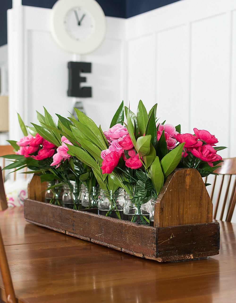 Decorating with Pink and Navy - Shaker Dining Room Navy & Pink for Spring