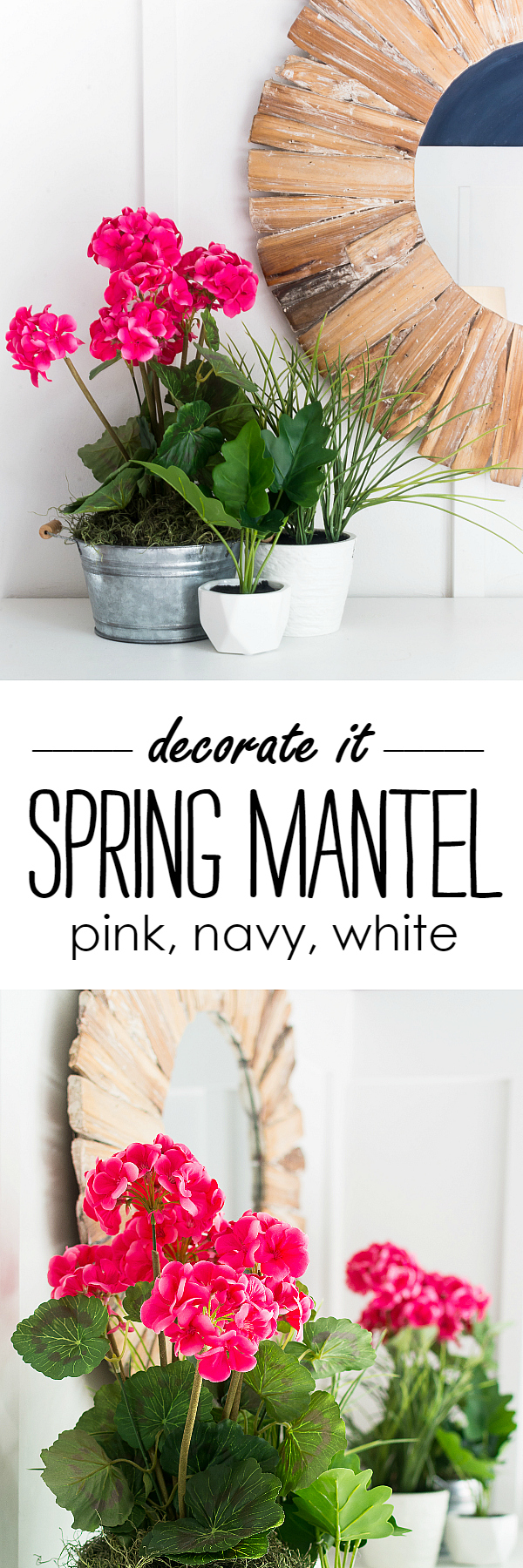 Spring Mantel Ideas in Pink and Navy
