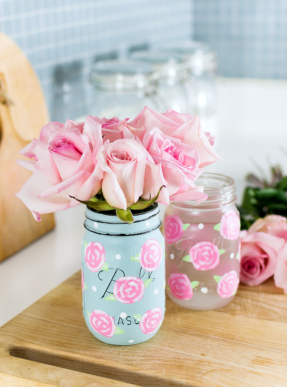 Painted Rose Mason Jars - How To Paint a Rose Tutorial - Easy Rose Painting Tutorial @itallstartedwithpaint.com