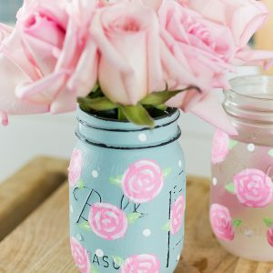 Painted Rose Mason Jars