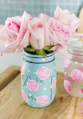 Painted Rose Mason Jar - Pink and Blue Painted Mason Jar