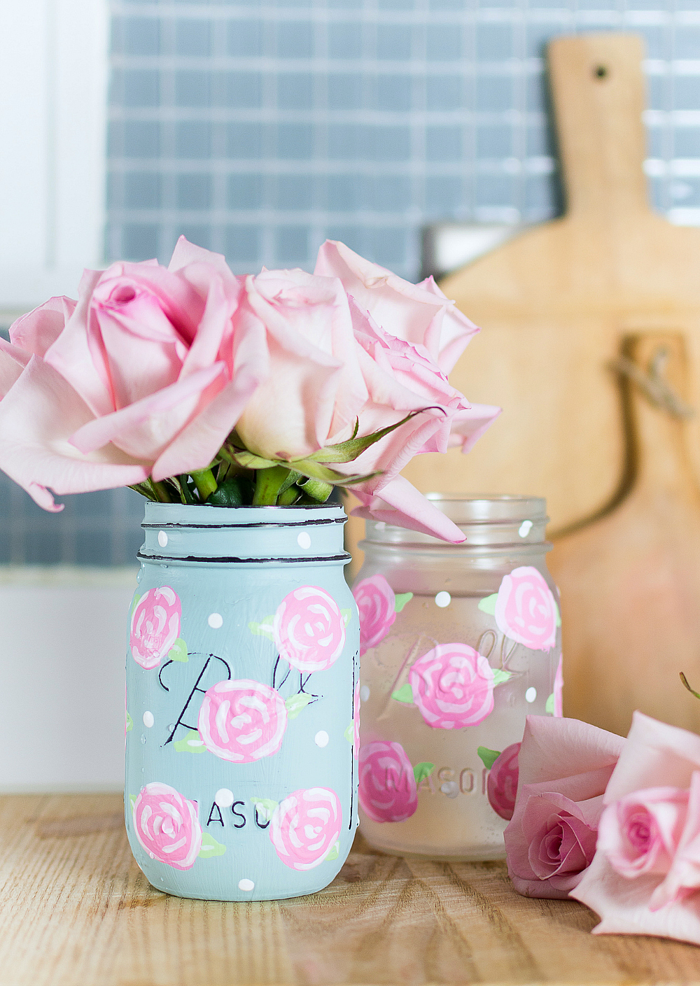 Painted Rose Flower on Mason Jar - Easy Rose Painting Tutorial