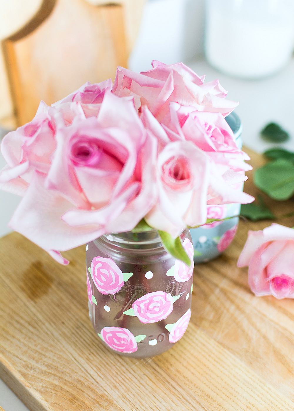 Rose Painted Mason Jars - How To Paint A Rose