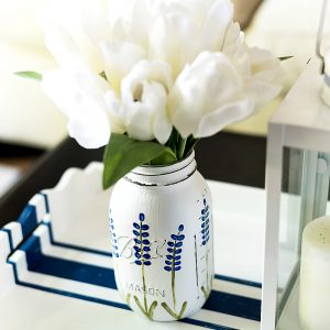Painted Texas Bluebonnet Mason Jar