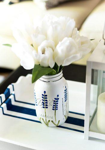 Painted Texas Bluebonnet Mason Jar