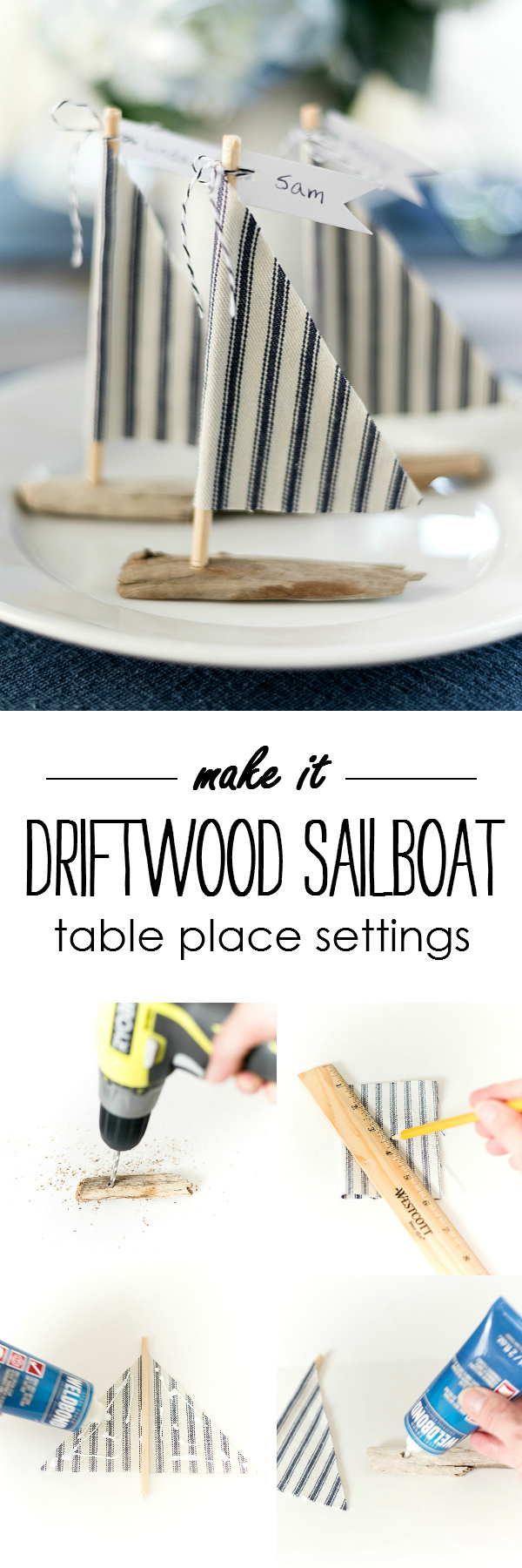 How to Make Driftwood Sailboat Place Setting DIY - Easy Nautical Place Setting Idea with Driftwood Sailboats @It All Started With Paint