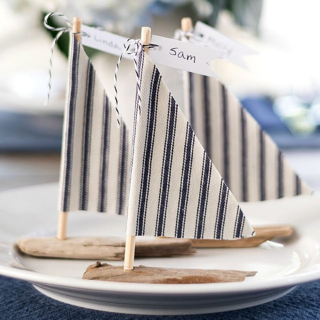 Easy driftwood sailboat diy place cards placecards placecardsetting nauticalwedding